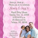 Elegant Pink Princess Baby Shower Invitations - With Photo or Ultrasound