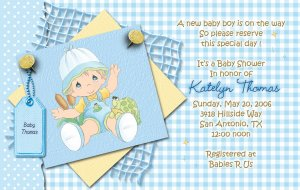 Blue Precious Moments Baby Shower Invitations