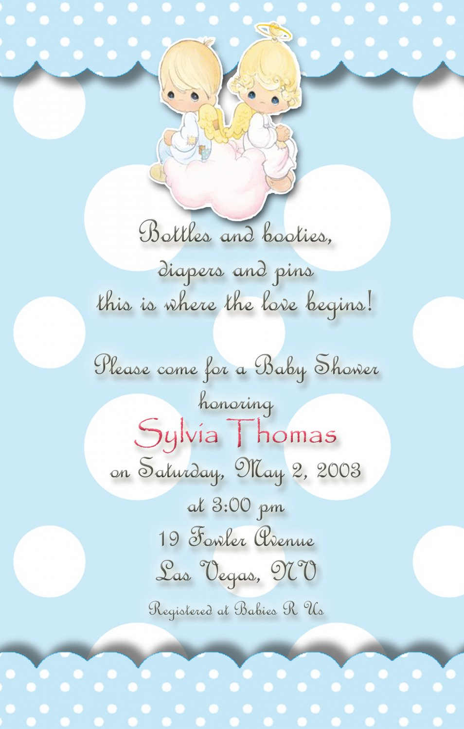 angels precious moments baby shower invitations blue and polka dots, Baby shower