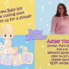 Blue and Yellow Precious Moments Photo Baby Shower Invitation