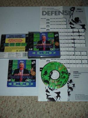 John Madden CD Football 100% COMPLETE IN CASE (Turbo Duo, Grafx 16 cd) Rarest Madden game FOR SALE