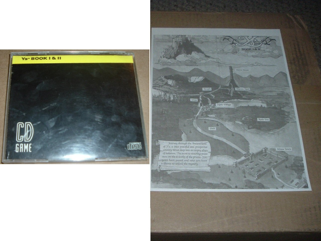 Ys Book I & II RPG (TurboGrafx 16 CD) only CASE WITH ARTWORK & copy of MAP, y's 1 2, For Sale