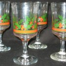 Set of (4) FOUR ARBY'S HOLLY BERRY WINE GLASSES - GREAT CONDITION