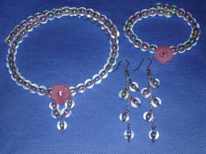 Item#MD0003 Rainbow colored choker, bracelet & earrings