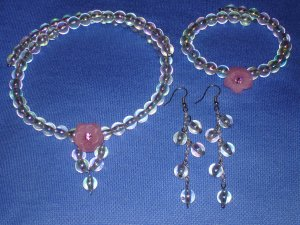 Item#MD0003 Rainbow colored choker, bracelet & earrings