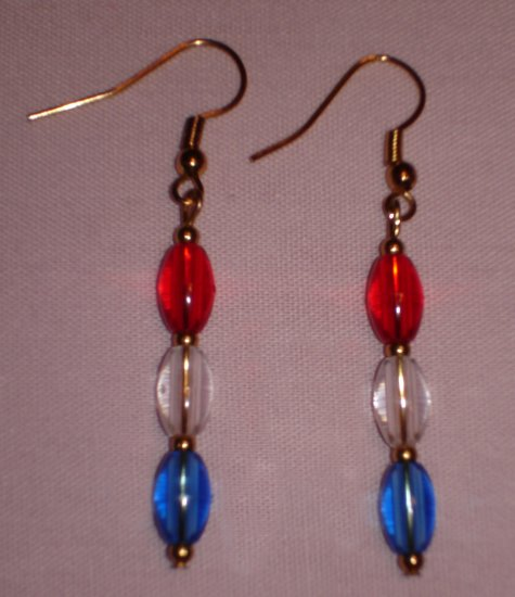 Item # MD0026 Red, White & Blue earrings