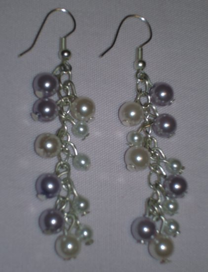 Item # MD0005 White & lilac pearl earrings