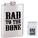KTFLLTBB: Maxam ® 2 pc Flask and Lighter Set - BAD TO THE BONE