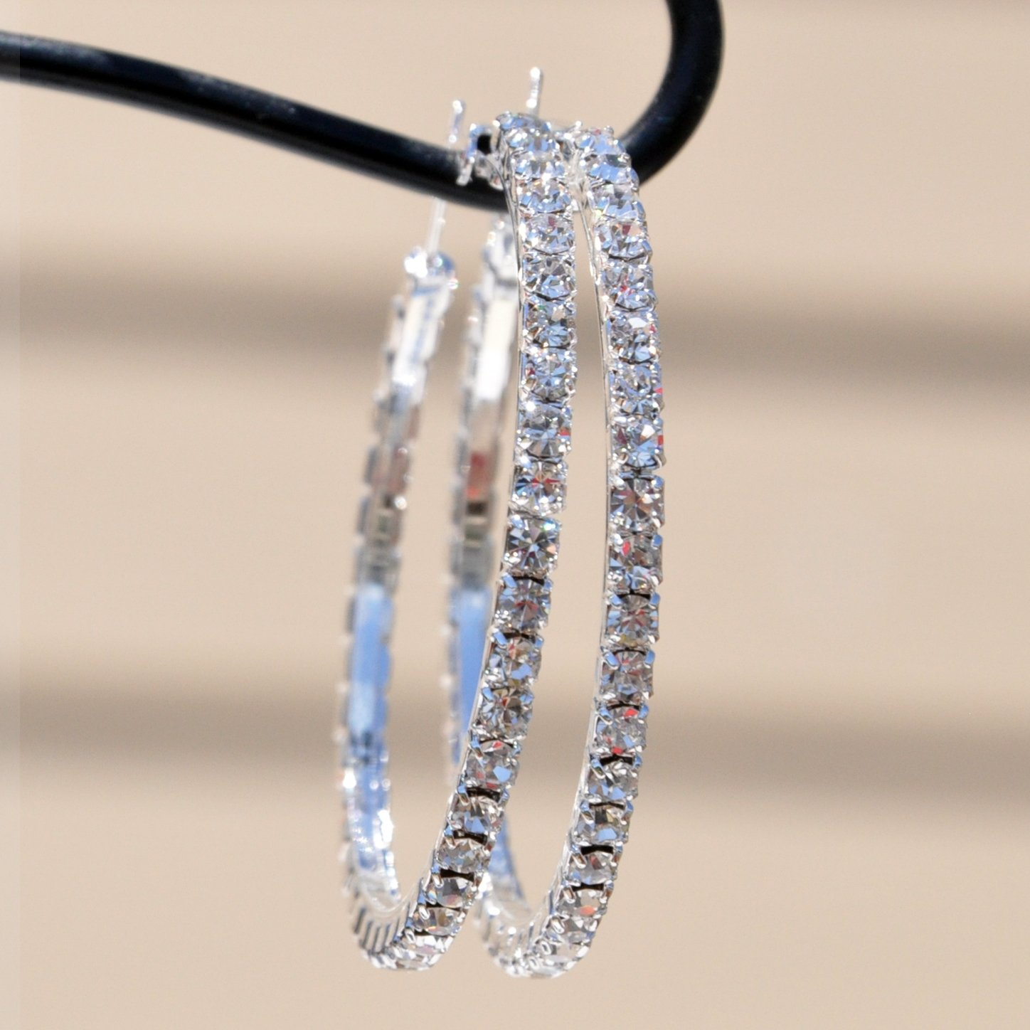 Large Rhinestone Crystal Embellished Hoop Earrings