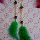 Green feathers earing