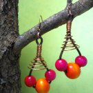 Rustic colorful earring