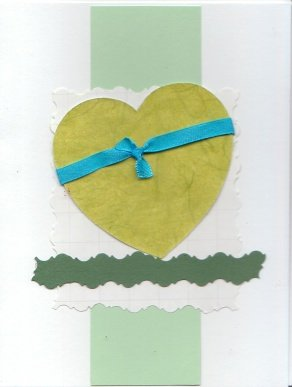 Green Heart Handmade Valentine's Card
