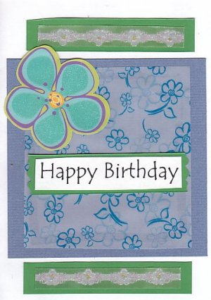 Happy Birthday Handcrafted Greeting Card - Blue & Green Flower Theme