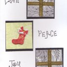 "Handcrafted Holiday Greeting Card - ""Love, Peace, Joy"""