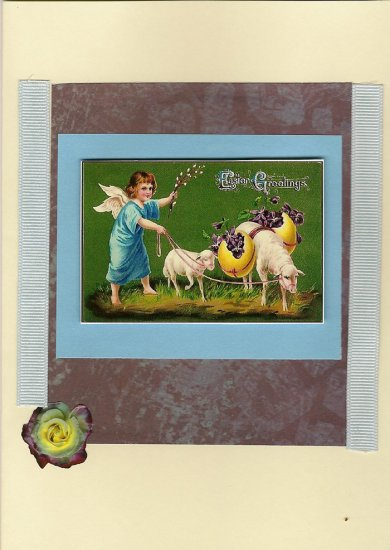 An Angel with Her Sheep: Vintage Inspired Easter Card