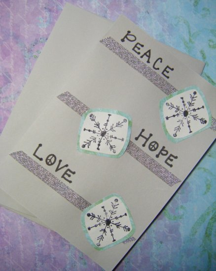 """Peace, Hope, Love"" Snowflake Greeting Card"