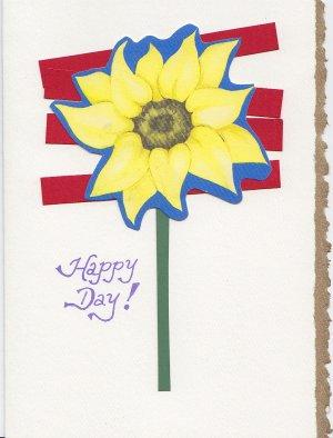 """Happy Day"" Sunflower Handmade Greeting Card"