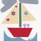 """Peace and Love Boat"" Handmade Greeting Card"