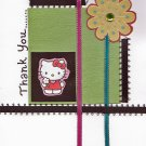 Hello Kitty and Flower-Theme Handcrafted Thank You Greeting Card