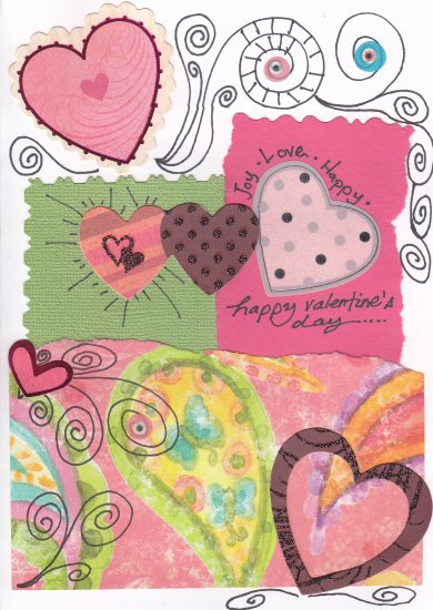 Whimsical Valentine's Day Handcrafted Greeting Card
