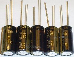 5x 680uF 25v Panasonic FM 105C Low-ESR capacitors