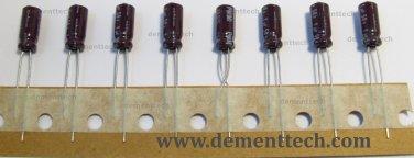 8x 1uF 50v Nichicon PM 105C Low-ESR radial capacitors caps