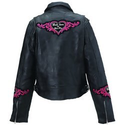 Genuine Leather Rock Design Ladies' Jacket with Decorative Patch - Size 2XL