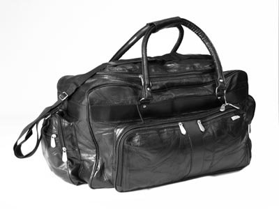 "23"" Black Genuine Leather Travel Bag"