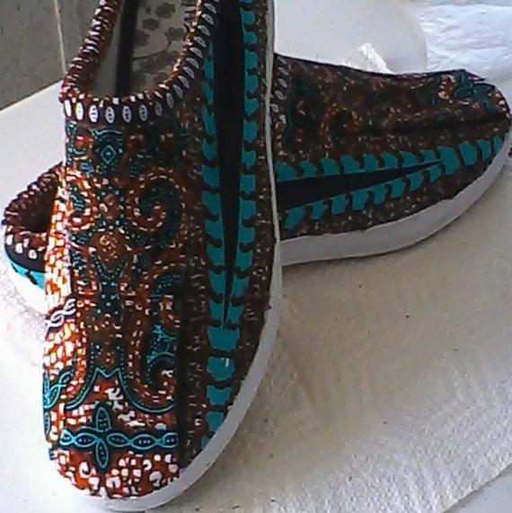 Dashiki - Ankara - Batik - African Wax print Fabric Covered Shoes