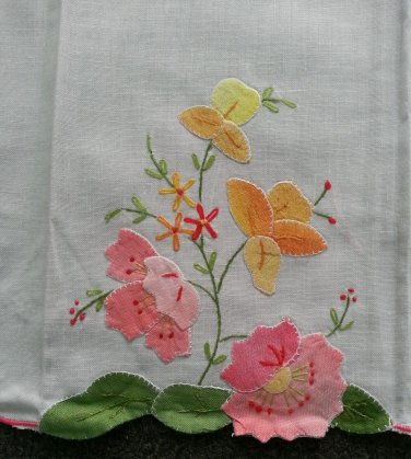 Embroidered tea towel 100% cotton 14' X 22'