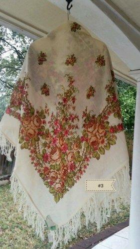 "Russian rare dense 100% wool shawl 58""x 58"" square scarf"
