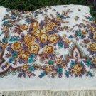 Russian shawl rare dense 100%wool 58' X 57'