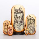 Russian wooden Nesting doll dog 5 pieces 7'
