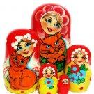 Wooden nesting doll cat 5 dolls set 4'
