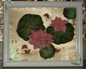 RibbonFlower Gallery- Framed Lotus Flowers,Dragonfly &amp; Koi