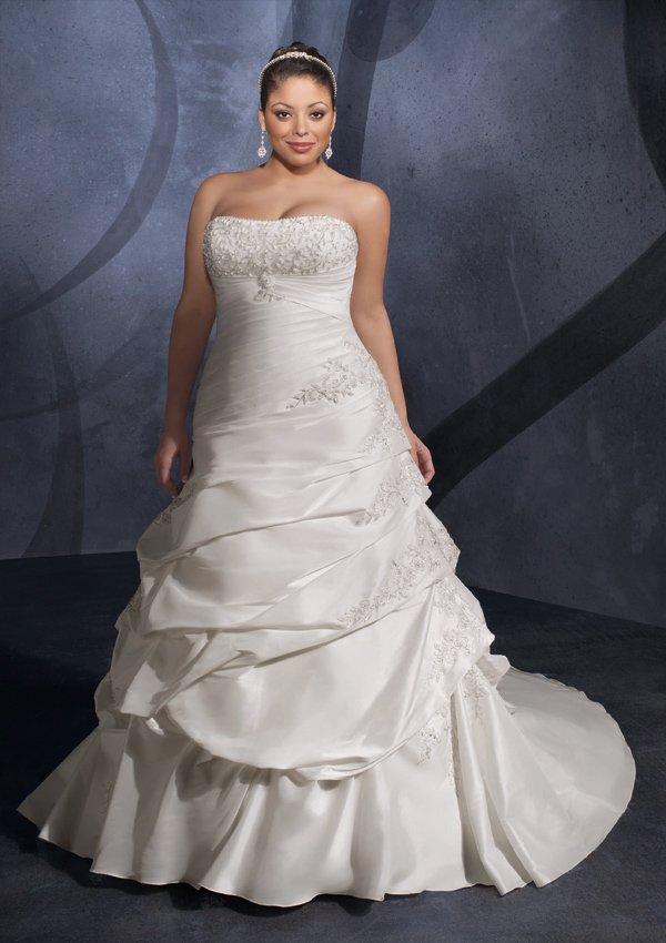 Embroidered Taffeta Plus Size Wedding Gown/ Wedding Dress