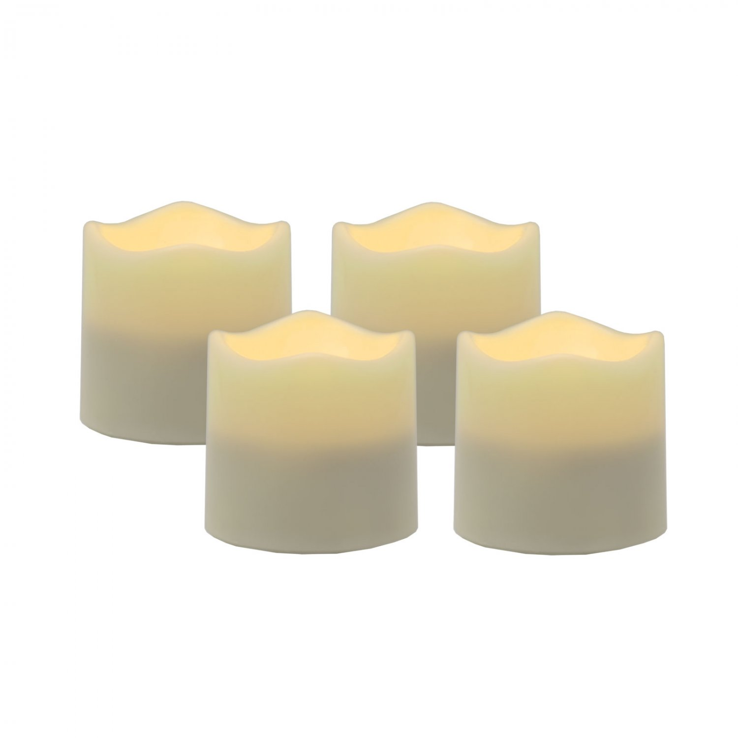 Pacific Accents Set of 4 Ivory Resin Wavy Top Flameless LED Tea Lights with Timer