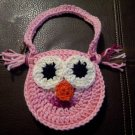 Crocheted Owl Purse PINK