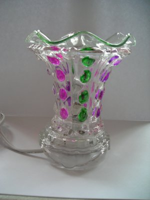 Green  purple pink Oval  Crystal ELECTRIC OIL WARMER
