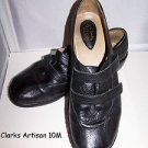 Clarks Artisan Leather Stylish Comfort Shoes 2 Velcro Straps Ex Cond Black 10 M