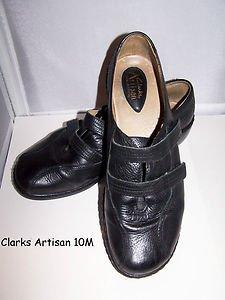 Clarks Artisan Leather Stylish Comfort Shoes 2 Velcro Straps Ex Cond Black 10 M