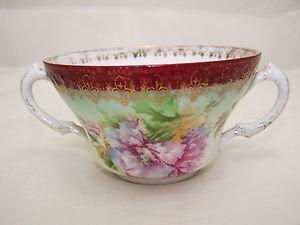 Antique Wheelock Imperial Austria Cream Soup Feathered Poppy 1800s Romantic RARE