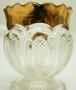 Vintage EAPG Toothpick Holder Gold Rim Trim  TEXAS  U.S. Glass 1900 Ex Cond RARE