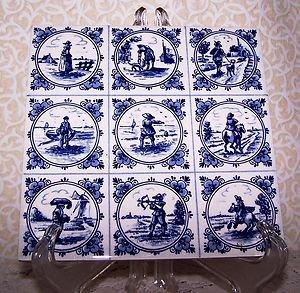 Vintage Tile Delft Blauw Holland Kate Greenway 9 Scenes on 1 Tile Blue Dutch Art