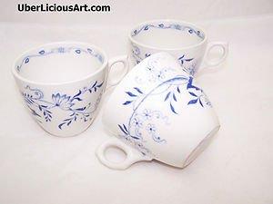 Vintage Furnivals Blue Staffordshire Onion 1890s Stafforshire England 3 Tea Cups