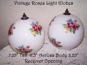 Vintage Glass Light  Globes Shades Romantic Prairie Country Roses English Cottag