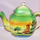 Vintage Tea Pot Windmill Scene Handpainted Japan Ex Cond 1930s 40s Dutch Cottage