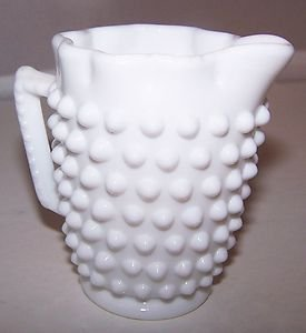 Vintage Fenton Hobnail Fancy Creamer & Candy Dish White Milk Glass Marked ExCond
