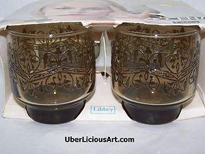 Vintage Libbey Accent 1960s 1970s Florentine Styling 9oz Rock Glasses Retro NIB