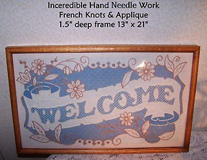 Vintage Needlework WELCOME HomeSpun Oak Frame Prairie Cottage Country Americana
